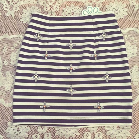 Shop Hope's white blue stripe mini jeweled skirt  with tags, perfect condition. Extremely form-fitting, fits size 2-4 Shop Hope's Skirts