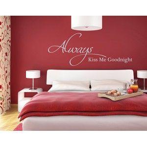 slaapkamer kleuren aubergine muurtattoo engelse tekst