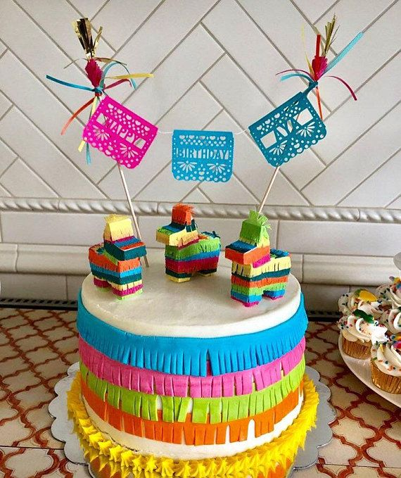 Tremendous Mini Pinata Cake Topper Coco Cake Topper Fiesta Decoration Fiesta Personalised Birthday Cards Beptaeletsinfo
