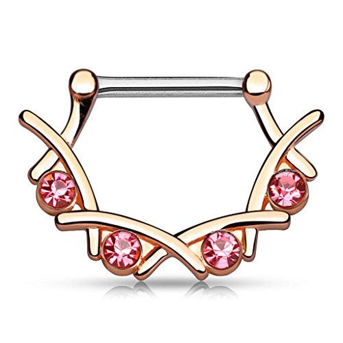 BodyJ4You® Rose Goldtone Nipple Clicker Pink Crystal 14 Gauge Piercing Jewelry