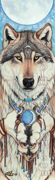 Offering  A wolf is offering a gift to to moon…or is the moon bestowing a gift upon him?    Watercolor and colored pencil on Bristol paper. 2009.