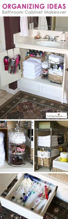Great Organizing Ideas for your Bathroom! Cabinet Bathroom Organization Makeover - Before and After photos.