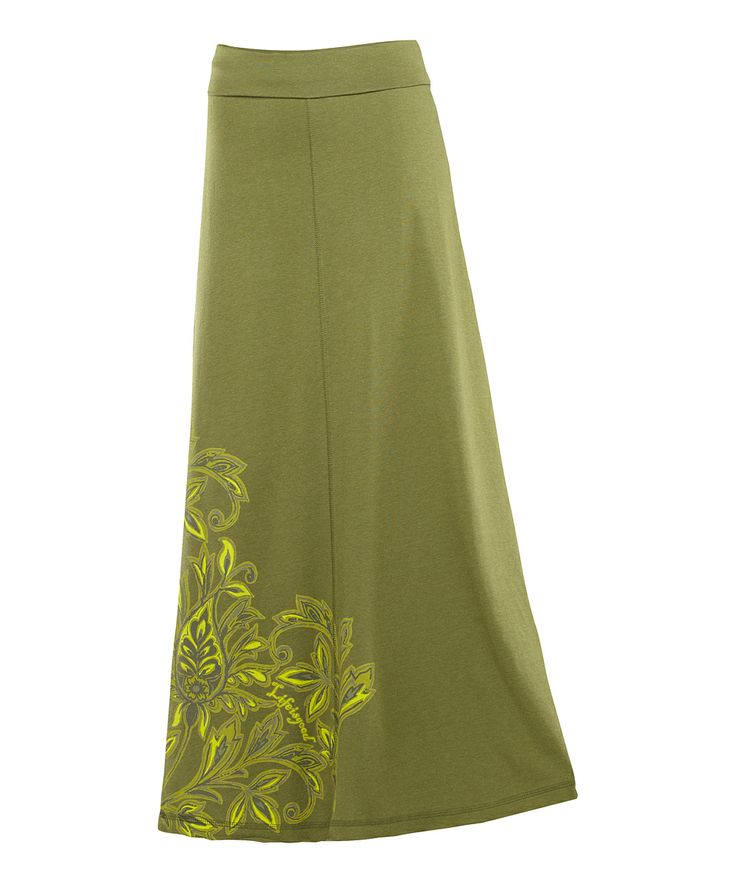olive floral graphic maxi skirt