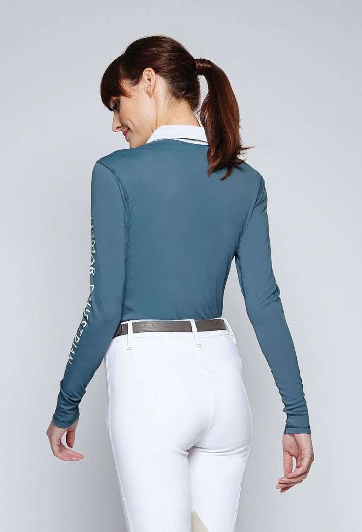 For the perfect #ROOTD Fall Horse Back Riding Outfit. The Classic Long Sleeve Polo in Twilight from Asmar Equestrian.