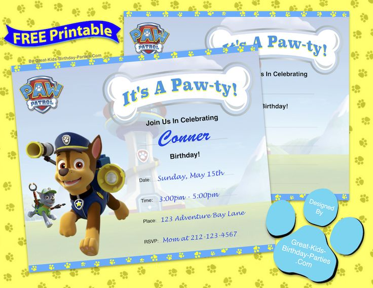 63 best images about paw patrol party on pinterest for Printable paw patrol invitations