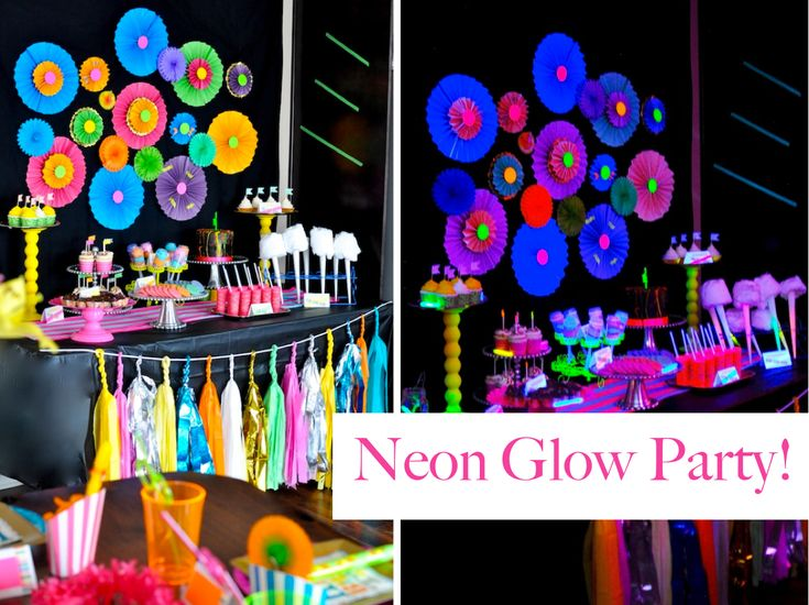 Neon Glow in The Dark Themed Birthday Party   Amazing party, but I am not so sure about all the neon food coloring soak edibles and what did they paint faces with to make them glow in the dark...hmmm