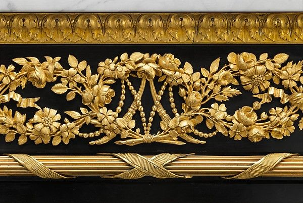 Drop-front secretary (Secrétaire en armoire) Jean Henri Riesener (French, Gladebeck, near Hessen 1734–1806 Paris) Date: 1783 Medium: Oak veneered with ebony and 17th-century Japanese lacquer; interiors veneered with tulipwood, amaranth, holly, and ebonized holly; gilt-bronze mounts; marble top; velvet (not original)