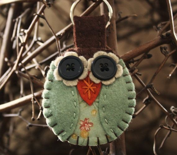 owl key ring  felt and fabric keychain brown and by urbanpaisley, $16.00