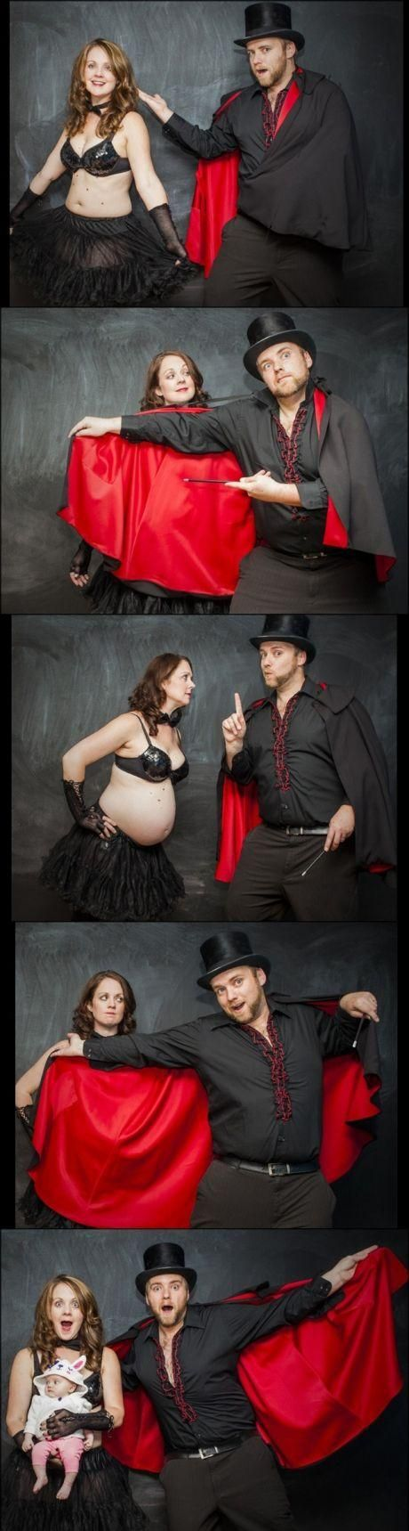 This is how pregnancy works, right? this is a cute idea, but i'd have more covering and classy clothes.
