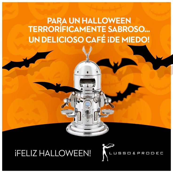 """¡Solo un día para la noche más terrorífica del año!  Decora tu fiesta con nuestras cafeteras #Elektra y ofrece a tus invitados un café """"terroríficamente"""" sabroso… ¡el lujo de ofrecer un sabor y aroma de miedo! ¡Feliz Halloween!  #Halloween #Lusso&Prodec #UnCaféDeMiedo #decoración #atrezzo"""