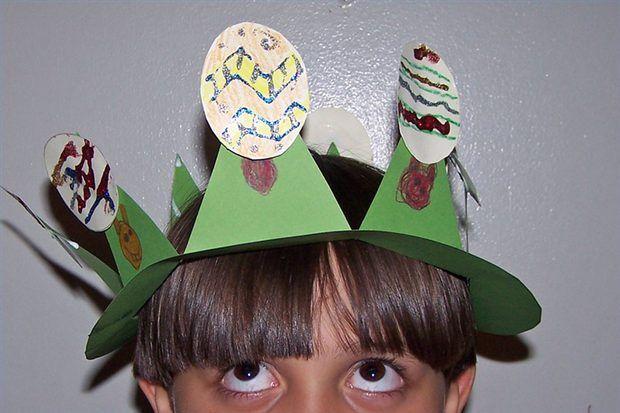 Artesanato pré-escolar: chapéu de Páscoa para meninos
