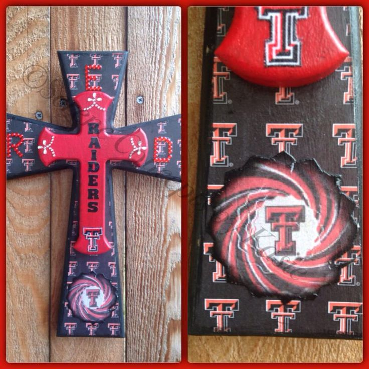 Texas Tech Red Raiders cross by Kasie Salas. #Texas_tech #Red_Raider #finishedcross   Order your unfinished Woodcraft products at www.unfinishedcrosses.com