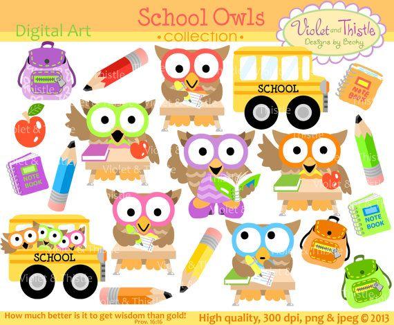School Owls Clip Art Owl Clip art Clipart Student Owls School Bus Teacher School Digital Download Instant Download Commercial Use