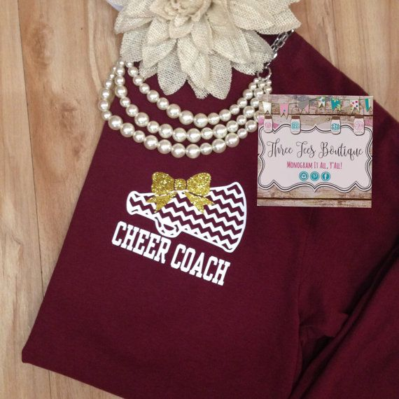 Cheer Coach Shirt. Megaphone with Glitter Bow T-Shirt. Chevron Megaphone Cheer Shirt. Cheer Long Sleeve T-Shirt. Monogrammed Gifts
