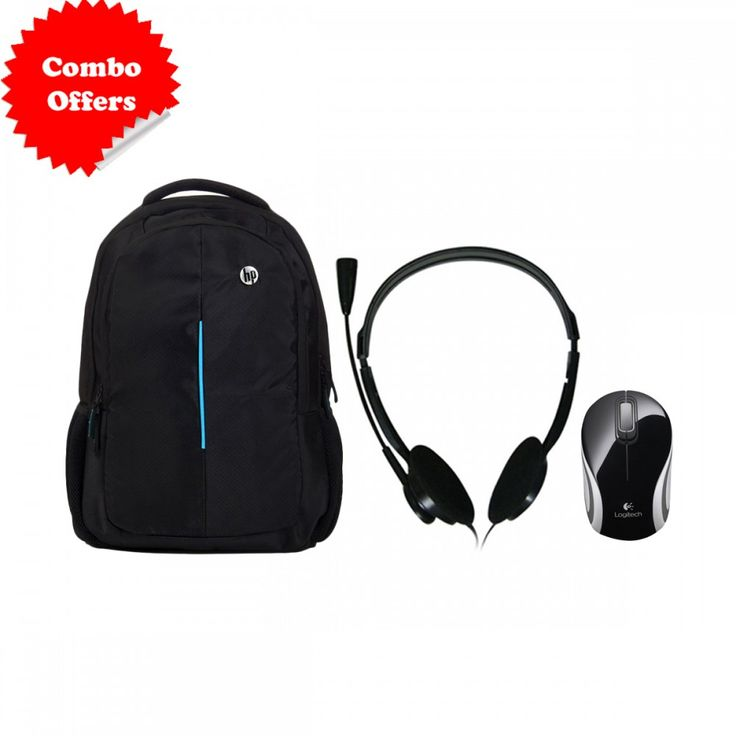 #HP Solid #Laptop Bag with Zebronics ZEB-15HMV #Headphone With Mic & Logitech M187 #Wireless #Mouse Combo #Offer
