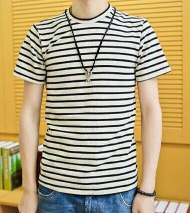 Casual Style Slimming Short Sleeves Round Neck Stripes Print Cotton Joker T-Shirt For Men Color: BLACK, BLUE Size: M, L, XL Category: Men > Men's T-Shirts & Vest   Material: Cotton  Sleeve Length: Short  Collar: Round Neck  Style: Casual  #mensstripedtshirtblackandwhite #menstshirt #stripedtshirt #blackanfwhite #bridgat.com
