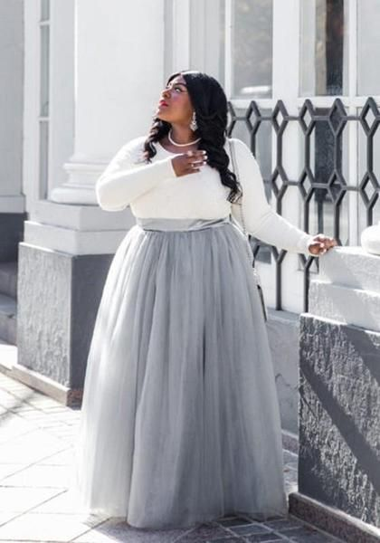 72f117d1e00611 Grey Grenadine Pleated High Waisted Plus Size Fluffy Puffy Tulle Homecoming Adorable  Tutu Long Skirt