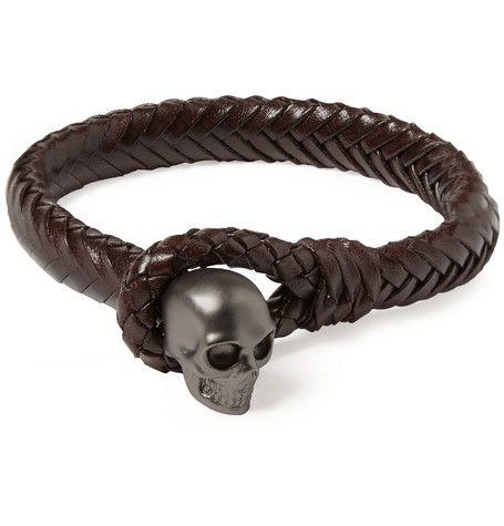 Alexander Mcqueen Metal Skull And Woven Leather Bracelet Men Accessories In 2018 Bracelets Jewelry For