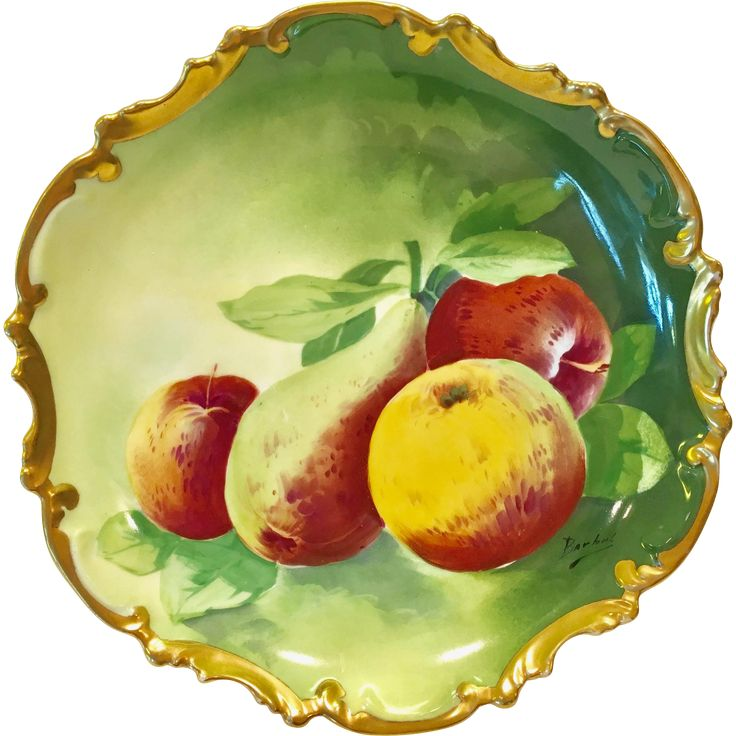 This outstanding fruits still-life antique wall charger plate by Coronet Limoges France is signed by the artist, Barbet. A vivid, factory decorated,