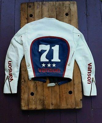 Best Motorcycle Jacket >> Vanson leather motorcycle racing jacket red white blue Evil Knivel 36   Vintage racing jacket ...