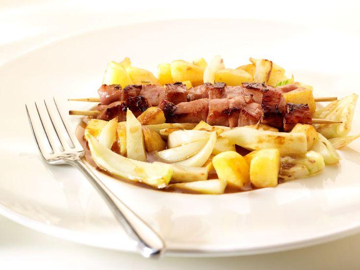 Recepten - Gebakken venkel met citroen en salie, aardappelen en geroosterde lamsbrochettes - HEERLIJK !
