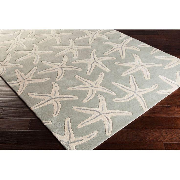 """Coastal Starfish Wool Area Rug (3'3 x 5'3) (Grey-(3'3"""" x 5'3"""")), Grey"""