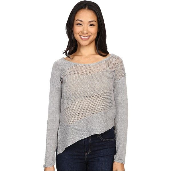 Prana Liana Sweater (Silver) Women's Sweater ($40) ❤ liked on Polyvore featuring tops, sweaters, silver, camisole tops, cami top, silver cami, white long sleeve sweater and round neck sweater