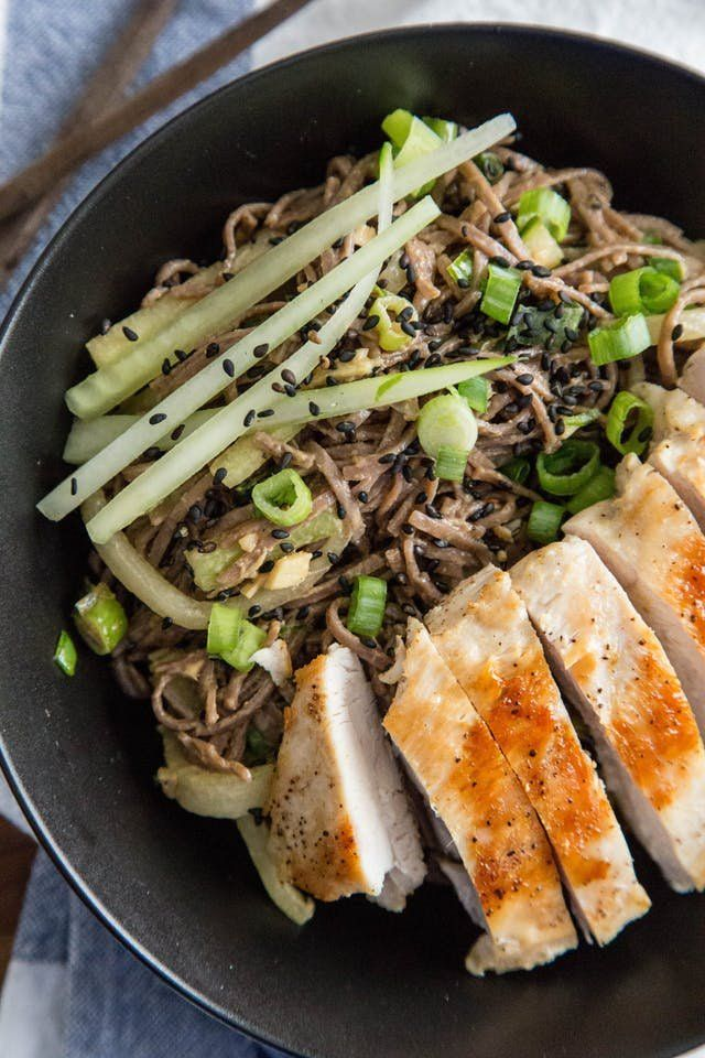 This Asian-inspired recipe for cold peanut sesame noodles with chicken is perfect if you're looking for a new idea under the healthy comfort food menu. This cool summer dish uses boneless chicken breast, peanut or canola oil, garlic cloves, spaghetti or soba noodles, and cucumber.