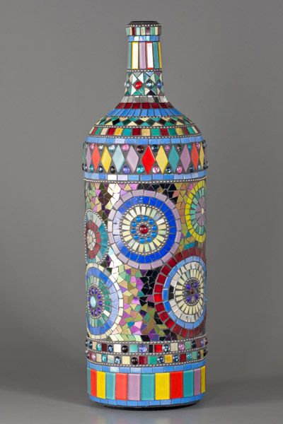 beautiful bottle mosaic by Nancy Keating featured on carmelartsanddesign.com  Mosaic Mega Magnum Wine Bottle ... Hand cut Italian smalti, crystal glass and irridized glass with stainless steel chain and glass cabochons