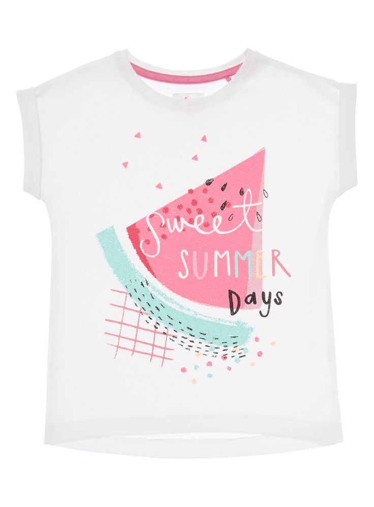 Boost her summer collection with this watermelon print T-shirt. Crafted from soft cotton, this piece can be worn with everything from shorts to jeans. Girls white watermelon print t-shirt Glittery watermelon print Crew neck Short sleeves ss16