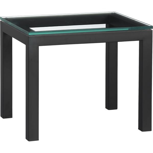 parsons 20x24 side table with glass top in side coffee tables crate