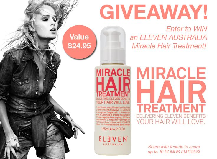 """WIN an ELEVEN AUSTRALIA Miracle Hair Treatment valued at $24.95!  ELEVEN AUSTRALIA Miracle Hair Treatment delivers ELEVEN benefits your hair will LOVE. Suited to all hair types, simply pump and apply to damp hair.  Don't forget to click on the """"Share with Friends"""" tab once you've entered to score up to 10 BONUS ENTRIES! http://gvwy.io/6x58t3"""