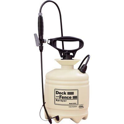 Hudson Deck and Fence Poly Sprayer - 1 Gallon, Model# 67991 by Hudson. $23.59. PolyTOV thumb-operated control valve. Stable, 6-footed translucent tank with funnel top.  12in. curved poly spray wand. Pic-A-Pattern dual fan nozzles spray different viscosities. 60in. Dura-Tuf mineral spirit-resistant hose. Deck and Fence poly compression sprayer is the ideal sprayer for applying deck sealers, cleaners and semi-transparent stains. 1-gallon capacity. U.S.A. Spray Pattern...