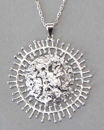 """Tapio Wirkkala for Kultakeskus Oy, modernist """"Sunburst"""" necklace, in sterling silver. #Finland"""