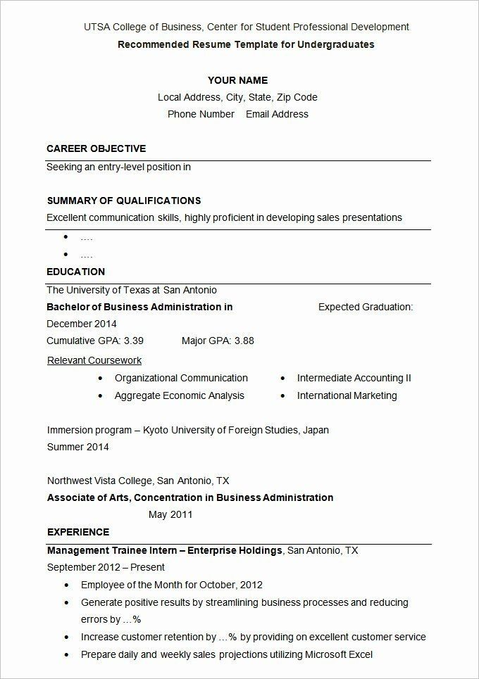 Resume Template For College Application New How To Write A