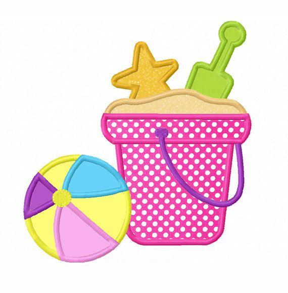 Motivos playeros aplicación cubo pala y pelota  nstante descargar Beach Ball apliques bordado por JoyousEmbroidery