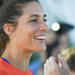 German tennis player Andrea Petkovic speaks at an interview in Rio