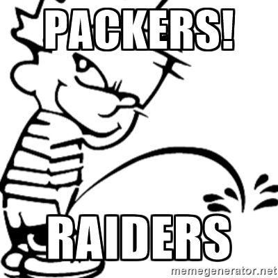calvin peeing - Packers! Raiders