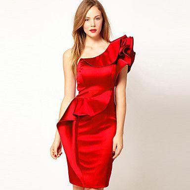 Bodycon одно плечо Сияющий Колен Brocade платье с рюшами – USD $ 99.74
