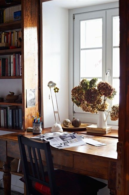 Plain Desk In Front Of Low Window Idea This Workspace Arrangement Is Close My For Inspiration Decorating