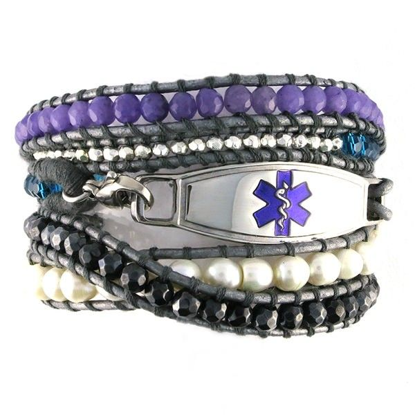 The Dream Beaded Wrap Medical Bracelet is an exquisite shades of silver, turquoise, lavender, charcoal and fresh water pearl beads that could be dressed up or dressed down! Can I have this in a everything so I can always wear it?