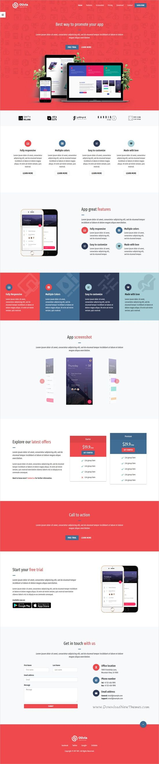 Olivia is clean and modern design 5in1 #responsive HTML #bootstrap template for app #landingpage professional website download now➩ https://themeforest.net/item/olivia-app-landing-page-template/19869917?ref=Datasata