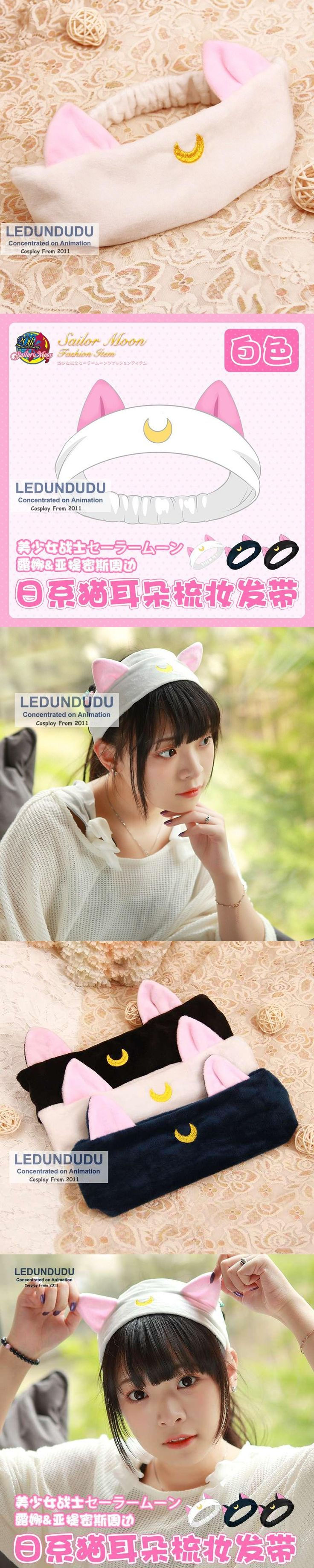 Sailor Moon Cosplay Props Headwear Luna Cat Hair bands Lovely Women Moon Plush Hair Accessories Elastic Hairbands 3 Colors