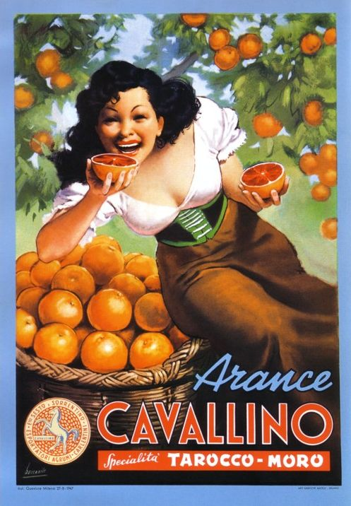 Subtle... MadMen... so subtle By Gino Boccasile (1901-1952), Arance Cavallino. (I) ~Via Abel Vegter