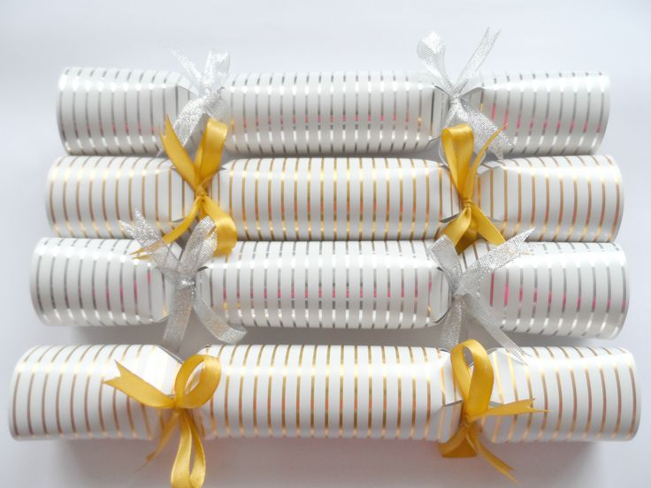 Striped Christmas Crackers in White, Gold and Silver