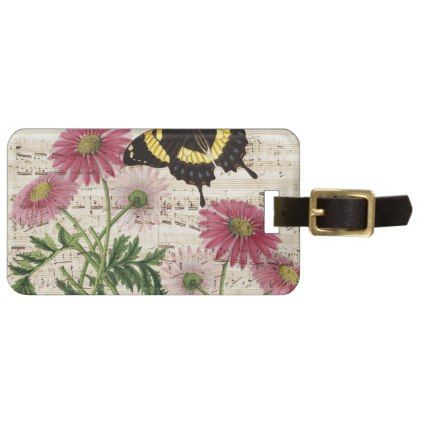 #daisy Butterfly Music Luggage Tag - #travel #accessories