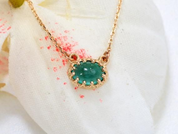 15% Off Until Dec. 1st/2017!  Cyberweek sale! Vintage Emerald Necklace in 14k Yellow Gold May Birthstone Gemstone Jewelry Gift for Her #cabochon_emerald_necklace #Canadian_jeweller #emerald_gold_necklace
