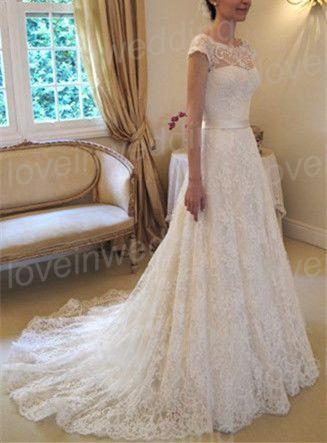 Lace wedding dress.