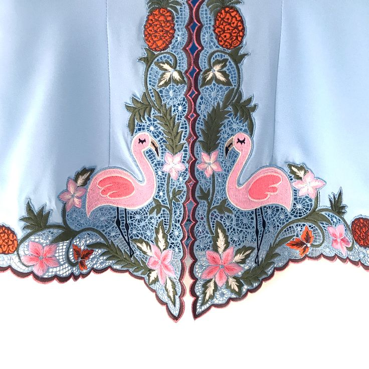 Sally Flamingo Classic Sky Blue IDR 875.000  This is a Pre-Order     Estimated Work Days : 10 – 14 working days (excluding Saturdays, Sundays & Public Holidays)    Sally Flamingo Hand Embroidery Contemporary Kebaya    Length of Kebaya : (Front) approx. 70 cm / (Side) approx. 56 cm    Material used : Textured Chiffon / Hand Embroidery    Note: Inner Wear is not included with the Kebaya