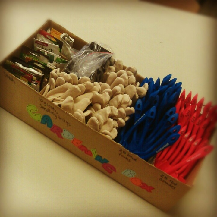 Portable gardening box with all the things needed for seed planting.. great for a group of kids